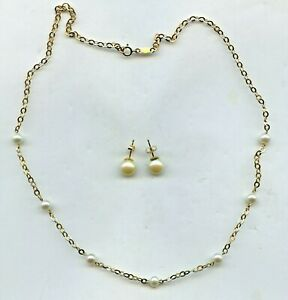 LOVELY 14K GOLD CULTURED PEARL NECKLACE & EARRING SET 2.5 Grams