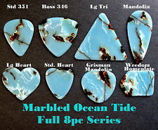 Azure Blue Marbled Vintage Guitar Picks - Full 8 Piece Series - Different Shapes