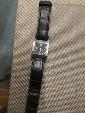 Gucci Watch with Black Leather Band Pre-Owned Condition