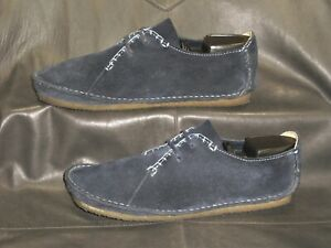 Clarks Original Faraway Field women's blue suede casual oxford shoes size US 11M
