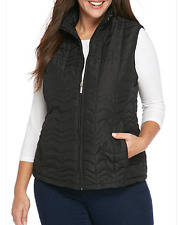Jane Ashley Woman Plus Size Lighter Weight Quilted Zip Front Vest 3X Black