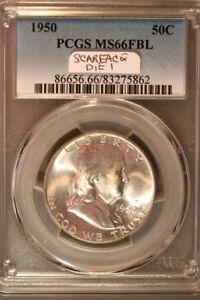 1950 Franklin half dollar PCGS MS66FBL * scarface die break die 1* BR