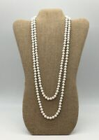 VINTAGE WHITE MILK GLASS ROUND BEADED VERY LONG FLAPPER NECKLACE MARKED JAPAN 2