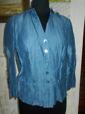 Chemisier lin bleu turquoise GERRY WEBER 38FR 36D 10UK manches 3/4 2 POCHES