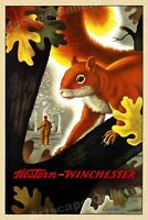 1955 Western Winchester Squirrel Hunting Vintage Style Poster - 16x24