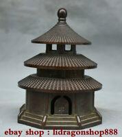 """5.6 """"Vieux chinois bronze dynastie Stupa pagode tour encens brûleur encensoir"""