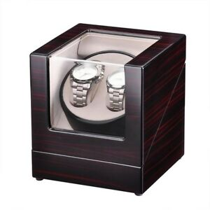 Double Watch Winder Automatic Rotation Wood Display Case Storage Organizer