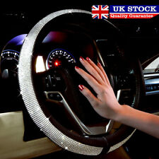 Car Steering Wheel Cover Crystal Sparkled Diamond Cover PU Leather Skidproof UK