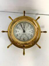 Vintage Seth Thomas Helmsman Brass Ship's Clock 1973 Isotron Electric movement