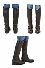 """Riders Trend Adult Full Grain Leather Gaiter Chaps Horse Brown S Height 15"""" 38cm"""