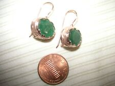 REDUCED  Nice 14K Rose Gold Opaque Emerald Dangle Earrings Locked Hook Back NEW