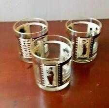 Set of 3 Roaring Twenties Movie Stars Tumblers Whiskey VTG Old Fashioned Glasses