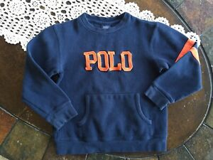 Polo by Ralph Lauren Boys Navy Blue Cotton Crewneck Sweater Size 6