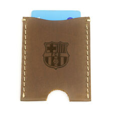 Genuine Leather Card Holder Oyster BARCELONA FC logo Christmas Gift BARCA
