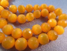 Yellow Cat's Eye Faceted Round 8mm Beads 50pcs