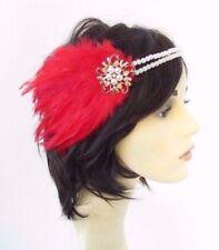 Or Rouge Crème Perle en Plumes Coiffe 1920 S Bandeau Garçonne Great Gatsby 4630