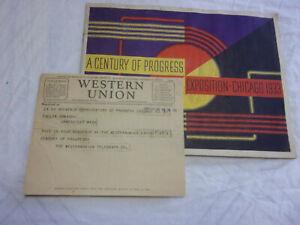 CENTURY OF PROGRESS EXPOSITION CHICAGO 1933 BOOKLET & WESTERN  UNION TELEGRAM