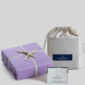 100% Organic Cotton Queen Lilac Sheet Set   Percale Weave   4 Piece   300 Thread