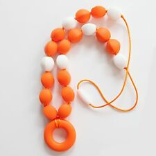 Orange and White Silicone Teething Breastfeeding Necklace Chewable Beads 1713