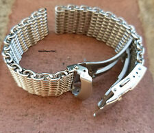 Small Wrist 20mm ALL Brushed Shark Stainless Steel Mesh Watch Band Solid Buckle