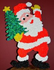 VTG Santa Claus Christmas Melted Plastic Popcorn Decoration Christmas Tree Large