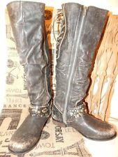 Corral Black Leather Distressed Slouch Knee High Studded Georgia Riding Boots-9-