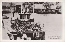 Vintage Postcard Big Game Trophies Antlers Wildlife Boat Wrangell AK RPPC