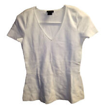 Ann Taylor V-Neck T-shirt, Ribbed Cotton/Nylon, Size XS, White, New with Tags