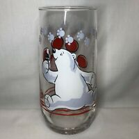 "1999 Coca-Cola Coke POLAR BEAR & PAW PRINTS 6"" COLLECTOR GLASS CUPS 16 oz"