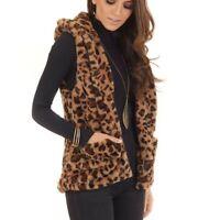 Fashion Women's Hooded Sleeveless Leopard Print Pockets Warm Faux Fur Vest Top