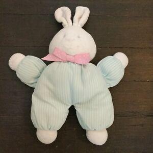 Eden Rattle Plush Bunny Aqua Stripes Velour Stuffed Animal Baby Toy 2006