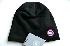 Genuine CANADA GOOSE WOOL Black Fleece Lined  Skull BEANIE HAT Toque NEW TAGS