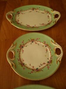 Set 3 Dishes Service Porcelain Painted Antique Deco Art Table 19th° S Tbe