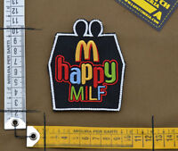 "Ricamata / Embroidered Patch ""Happy Milf"" with VELCRO® brand hook"