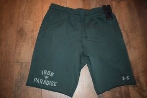 Under Armour Men's Project Rock Terry Iron Short 1752 Size L (Ivy 384) NWT