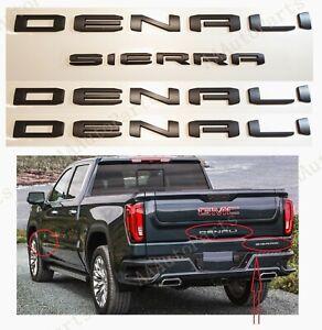 4PCS Set Matte Black Door Rear DENALI SIERRA Emblems Fit GMC Sierra 1500 2500hd
