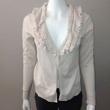 H&M Cardigan Size M Medium Womens Long Sleeve Sweater Ruffle Top V Neck Pink