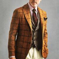 Orange Wool Blazer Tweed Plaid Men Suit Wedding Jacket Coat Classic Casual