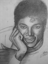 Michael Jackson drawing painting Off the Wall 1980 1981 RARE  pre Thriller