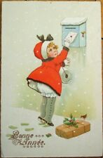 New Year 1920s Color Litho Postcard: Girl Putting Letter in the Mailbox