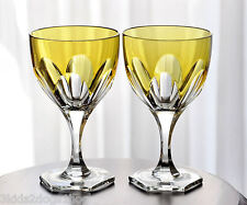 2 Faberge Paris Yellow Gold Cut to Clear Small Wine Liqueur Brandy Goblets New
