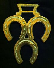 THREE HORSE SHOES DOWN Pour Out The Luck Horse Harness Brass Double Hanger GIFT
