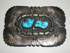 Vtg Native American 925 Sterling Silver Belt Buckle Turquoise Stone Inlay Signed
