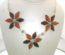 """925 STER Silver Baltic Sea Mixed Amber Flower Citrine Necklace 18.5"""" Adjustable"""