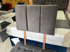 DIVAN CHICAGO PLUSH OR CRUSHED VELVET BED HEADBOARD ALL SIZES + COLOURS + STRUTS