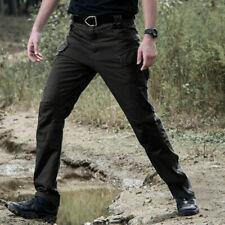 Mens Combat Trousers Waterproof Zipper Durable Tactical Cargo Work Long Pants UK