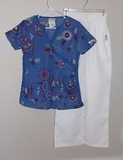 UA Scrubs Set S Blue Floral Split VNeck MockWrap Top Elastic Waist White Bottoms