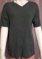 Calvin Klein Jeans Knit Top Short sleeve Gray 100% Cotton V-Neck Size M