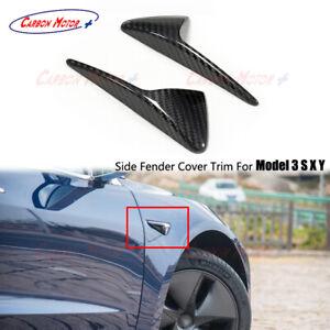 For Tesla Model 3 Y S Real Carbon Fiber Side Fender Camera Protector Cover Trim
