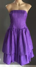 Vintage 1980's Handmade Purple Crinkle Taffeta Look Strapless Dress Size 8